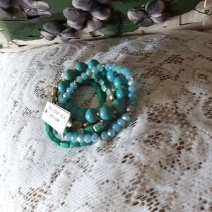 NWT Various Colored Turquoise 5/pcs Stack Bracelet